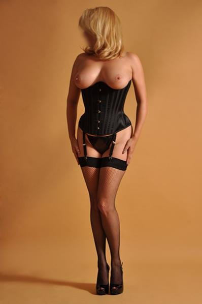 corset and fishnets